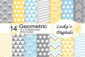 Geometric Patterns, Grey Yellow Blue
