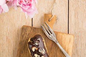 Eclair with chocolate ganache
