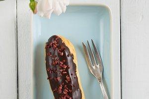 Chocolate raspberry eclair