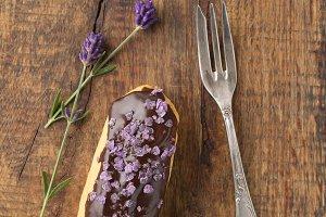 Chocolate lavender eclair