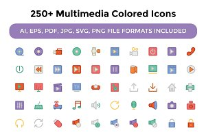250+ Multimedia Colored Icons