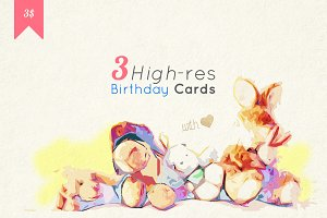 3 High-res Birthday Cards