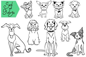 Set of 9 dogs