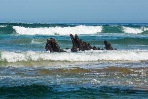 Sea storm scenery.