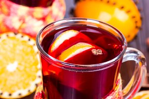 Hot mulled wine with orange slices