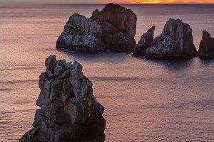 Rocks on sunset Arnia Beach.