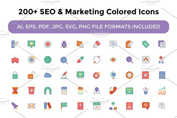 200+ Seo and Marketing Colored Icons