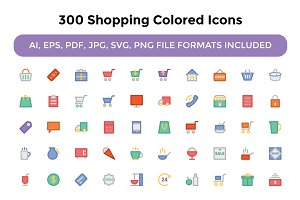 300 Shopping Colored Icons