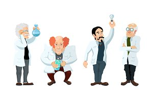 Four cute cartoon scientists