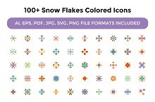 100+ Snow Flakes Colored Icons