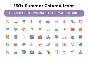150+ Summer Colored Icons