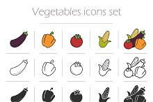 Vegetables icons set. Vector