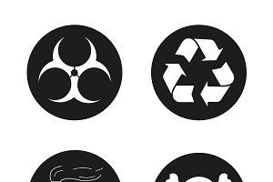 Industrial pollution icons. Vector