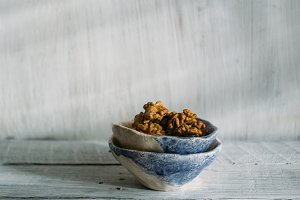 ceramic bowls with walnuts