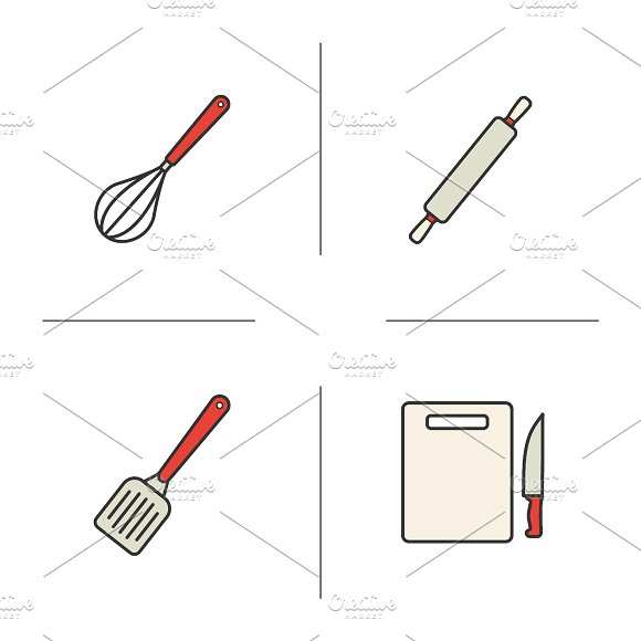 Kitchen instruments icons. Vector - Icons