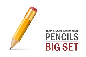 Short and wide wooden sharp pencils.