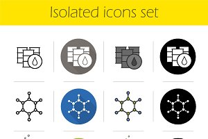 Petroleum industry icons set. Vector