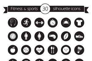 Fitness icons set. Vector