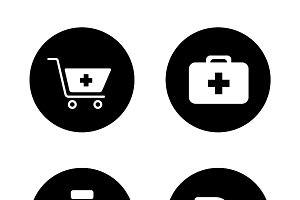 Online pharmacy icons. Vector