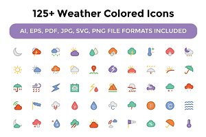125+ Weather Colored Icons