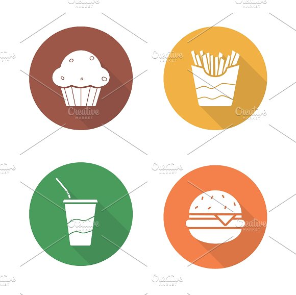Fast food icons. Vector - Icons