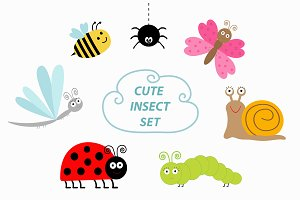 Cute cartoon insect set.