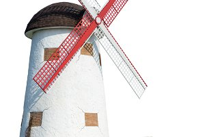 Windmill on white background