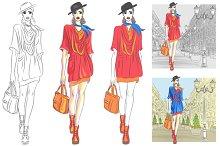 Set beautiful fashion girl