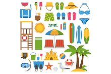 Summer Beach Icon Elements Set