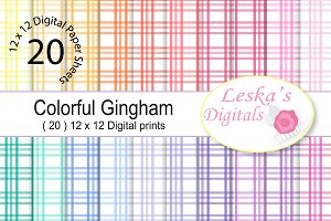 Colorful Gingham Digital Paper