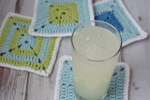 Lemonade on Crochet Coaster