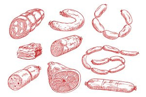 Sketches of smoked sausages and meat