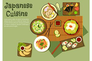 Oriental dishes of japanese cuisine
