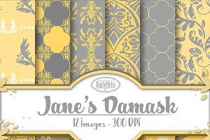 Grey and Yellow Damask Patterns