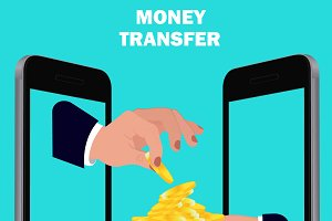 money transfer, flat design, vector