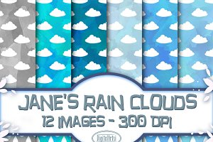 Watercolor Rain Clouds Pattern
