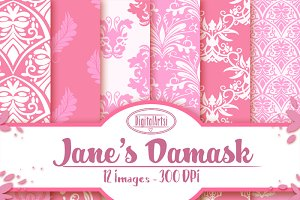 Pink Hand Drawn Damask Pattern