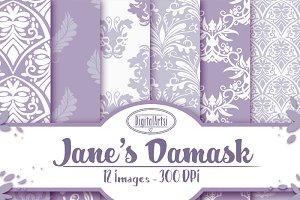 Hand Drawn Purple Damask Paper