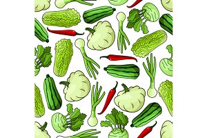 Spring vegetables seamless pattern