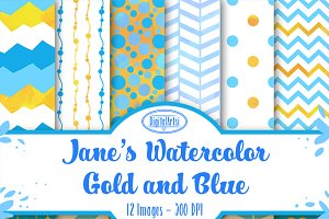 Watercolor Gold and Blue Patterns