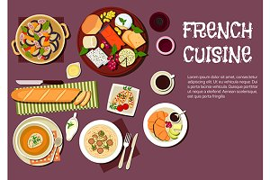 French cuisine dishes and drinks