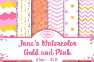 Pink Gold Watercolor Patterns