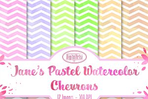 Watercolor Pastel Chevrons