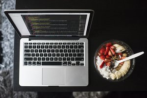 Coding and Vegan Plant Based Meal