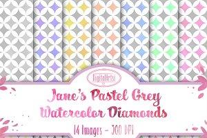 Grey Pastel Diamonds Digital Paper