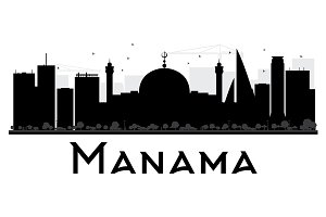 Manama City Skyline Silhouette