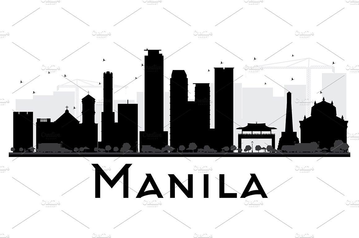 Manila City Skyline Silhouette Illustrations Creative