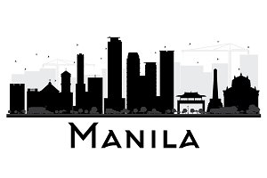 Manila City Skyline Silhouette