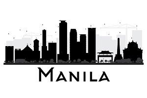 Manila City Skyline Silhouette