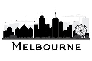 Melbourne City Skyline Silhouette